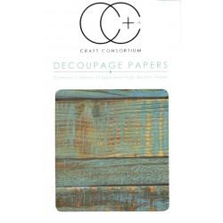 Modré obroušené dřevo - set 3 papírů pro decoupage CC