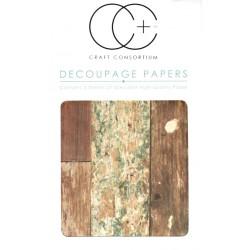 Recyklované dřevo - set 3 papírů pro decoupage