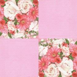 Růže a gerbery, puntíky 33x33