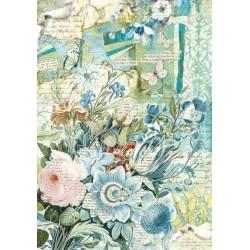 Papír rýžový A4 Kytice modrých květů