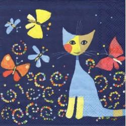Kočka a motýlci 33x33