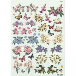 Papírové výřezy 3D - Květiny a motýlci