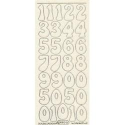Samolepky číslice 2,8cm, transp. s glitterovým efektem
