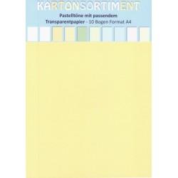 Set kartonů a transp.papírů v pastelových barvách, vel.A4