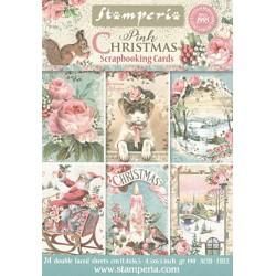 Scrapbookové karty 11,4x16,5cm 190g Pink Christmas