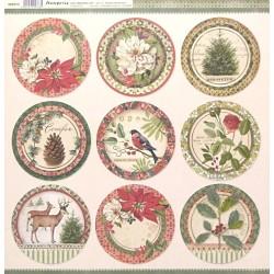 Winter Botanic, kruhy s obrázky 30,5x30,5 scrapbook