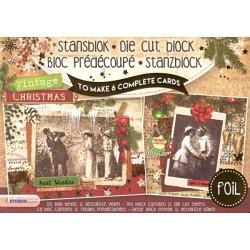 3D blok s výseky - Vintage Christmas with foil, A5