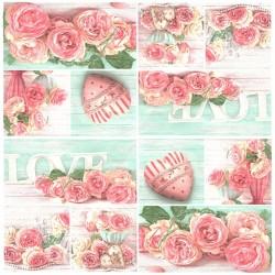 Růžová koláž 33x33