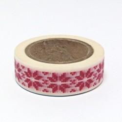 Papírová páska 15mm/10m - norský vzor červený