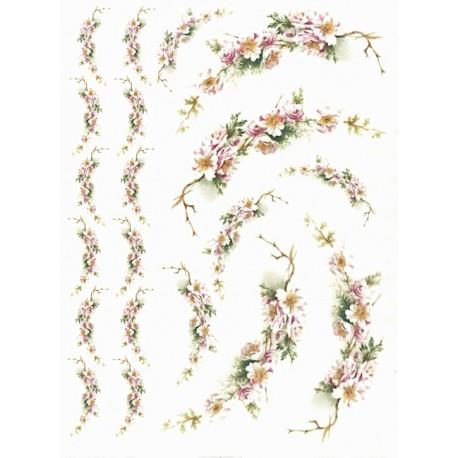 Papír rýžový A4 Větvičky s trny a květy