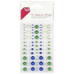Perličky samolepící V&A (91ks) zelené, modré a bílé