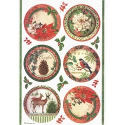 Papír rýžový A4 Winter Botanic, obrázky v kruzích
