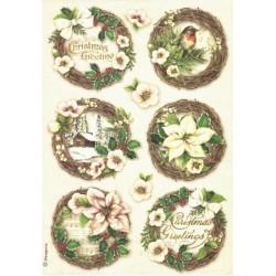 Papír rýžový A4 Christmas Greetings, obrázky v kruzích