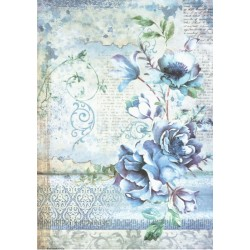 Papír rýžový A4 Blue Land, květina