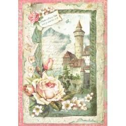Papír rýžový A4 Zámek, růže