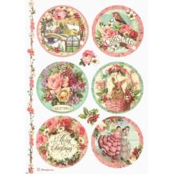 Papír rýžový A4 Merry Christmas, růžičky