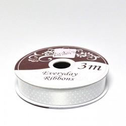 Stuha saténová 3m/1cm - puntík stříbrná