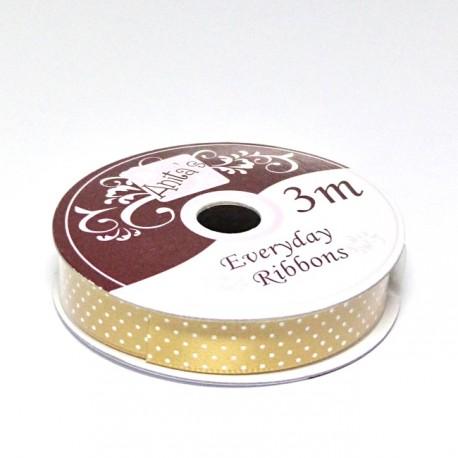 Stuha saténová 3m/1cm - puntík zlatá