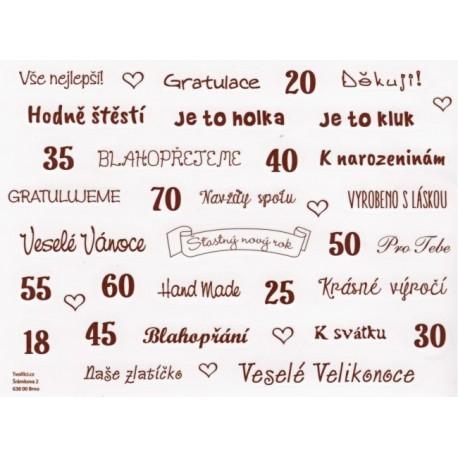 Samolepky - české texty, tmavě hnědá
