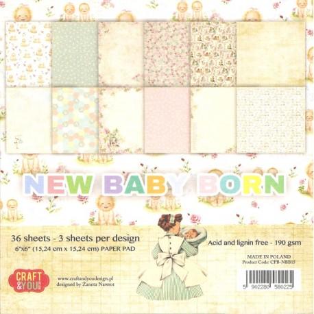 Sada papírů 15x15 New Baby Born (Craft & You)
