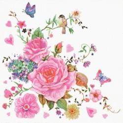 Růžičky s motýlky 33x33