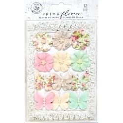 Sada pap.květů a motýlků Misty Rose 12ks (Prima Marketing)