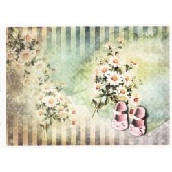 Papír rýžový A4 Kopretiny, růžové botičky