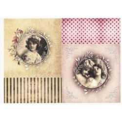 Papír rýžový A4 Dva obrázky dívek, proužky, puntíky