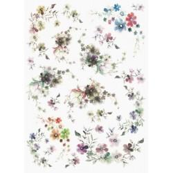 Papír rýžový A4 Něžné kvítky, vícebarevné