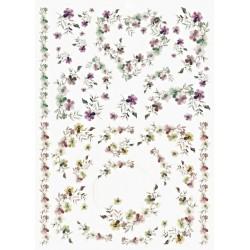 Papír rýžový A4 Něžné kvítky, srdce, kruh