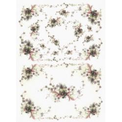 Papír rýžový A4 Něžné kvítky, srdíčko