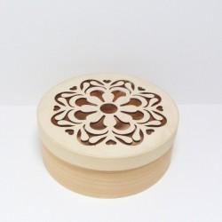 Krabička z dýhy s ornamentem, prům.16cm