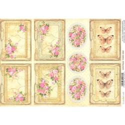 Scrap.papír A4 Vintage Time, kartičky s růžičkami
