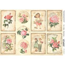 Scrap.papír A4 Vintage Time, kartičky s růžemi a dětmi
