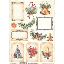 Scrap.papír A4 Vintage Time, vánoční s visačkami