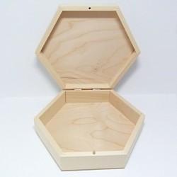 Dřevěná šestihranná krabička - velká