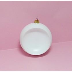 Plastová koule k zavěšení 12cm, bílá s prohlubní