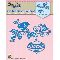 Vyřezávací šablona - Ptáček na větvičce s baňkou (Nellie´s Choice)