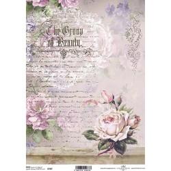 Papír rýžový A4 Růžová růže a písmo