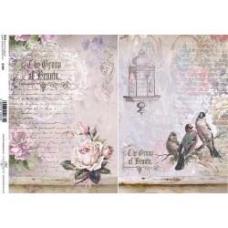 Papír rýžový A4 Dva obrázky, s růží a s ptáčky