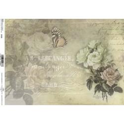 Papír rýžový A4 Růže a motýl, písmo