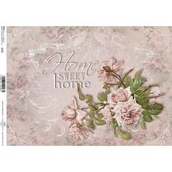 Papír rýžový A4 Růže Home Sweet Home
