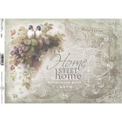 Papír rýžový A4 Ptáčci Home Sweet Home