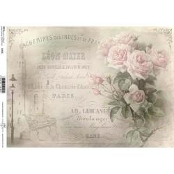 Papír rýžový A4 Světle růžové růže, písmo