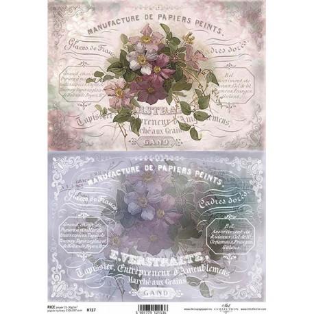 Papír rýžový A4 Dva obrázky s květinami