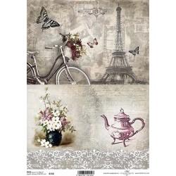 Papír rýžový A4 Dva obrázky, kolo, kytice
