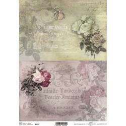 Papír rýžový A4 Dva obrázky, růže, motýl