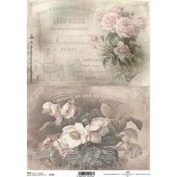 Papír rýžový A4 Dva obrázky, růže, anemonky