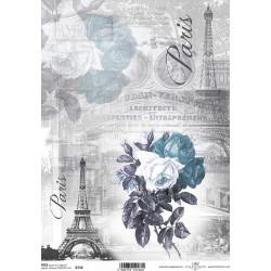 Papír rýžový A4 Růže, Paris, domodra