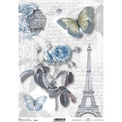 Papír rýžový A4 Růže, motýl, domodra